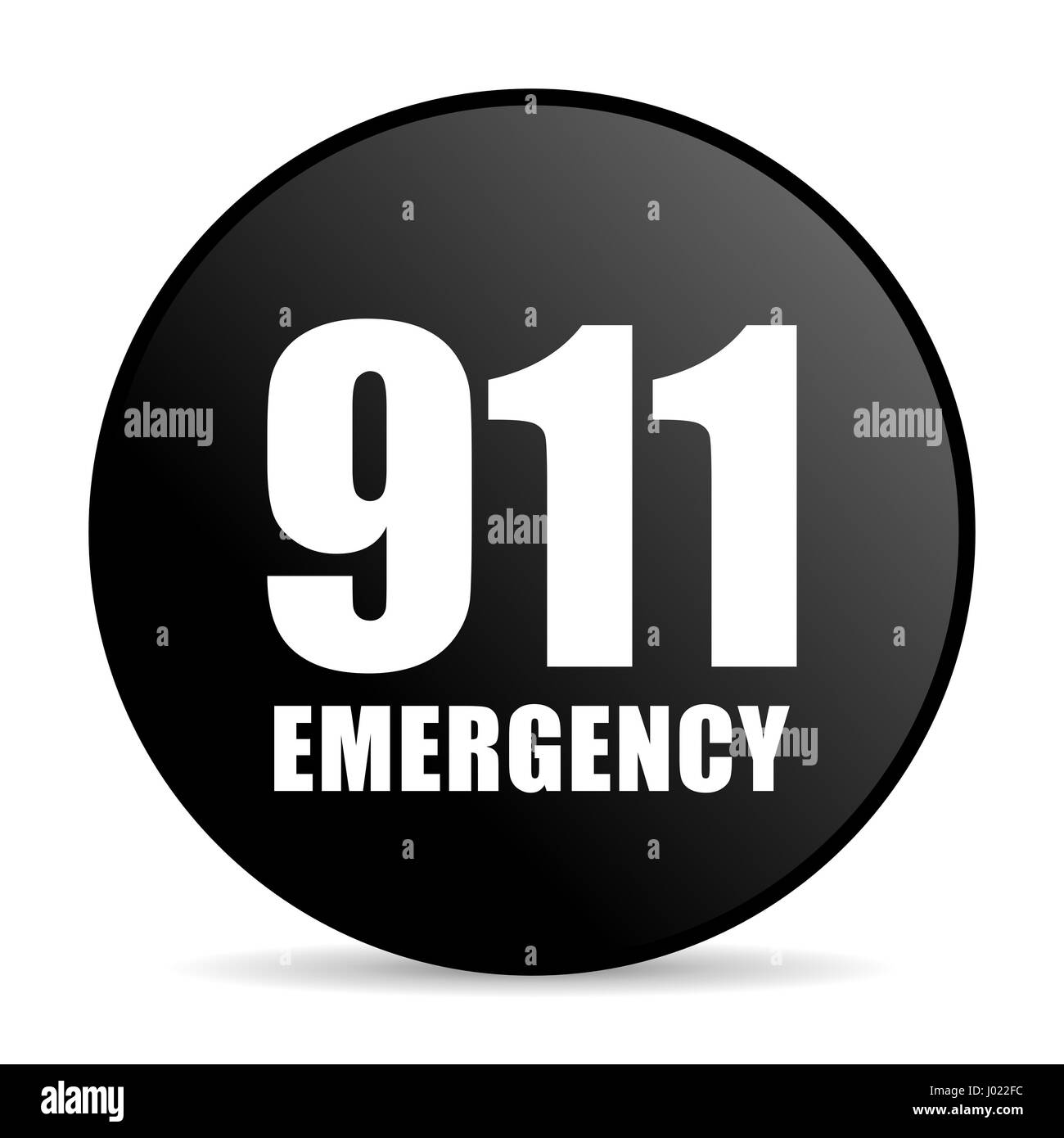 Number emergency 911 black color web design round internet icon on white background. - Stock Image
