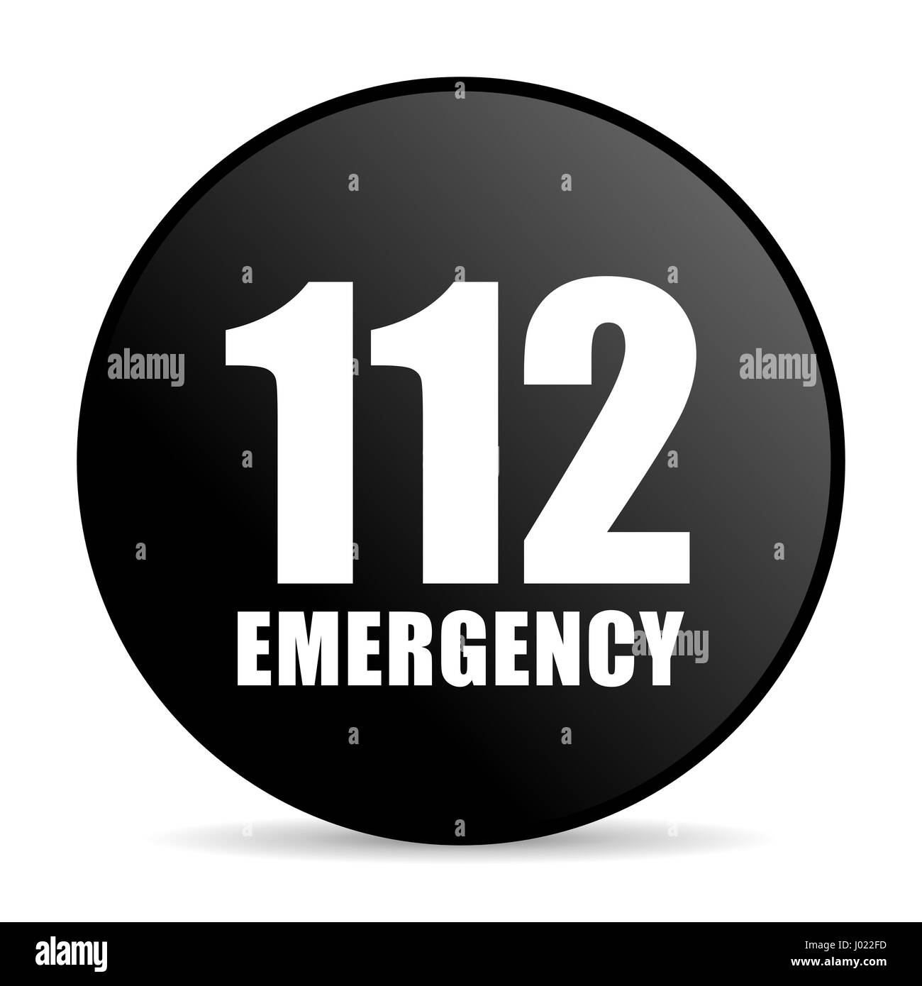 Number emergency 112 black color web design round internet icon on white background. - Stock Image