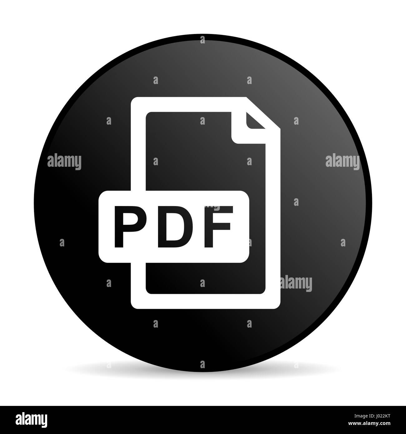 Pdf file black color web design round internet icon on white background. - Stock Image