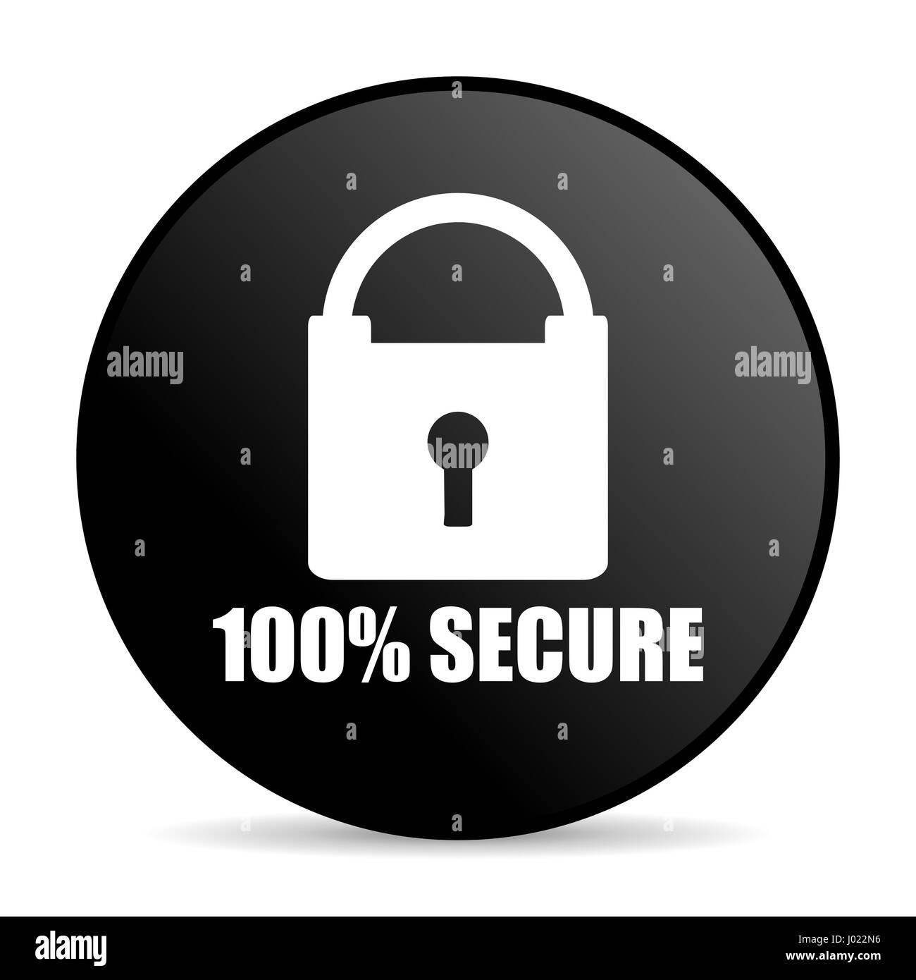 Secure black color web design round internet icon on white background. - Stock Image