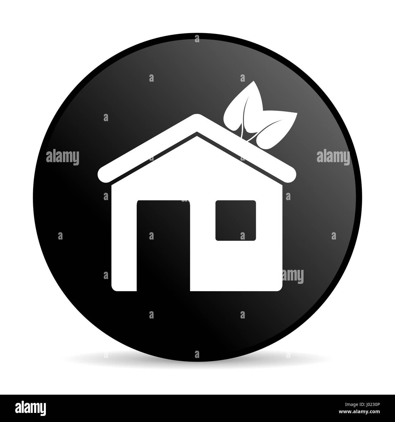 House black color web design round internet icon on white background. - Stock Image