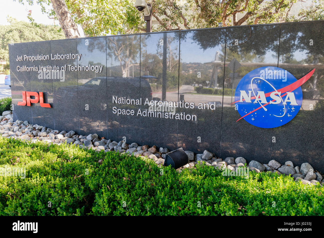 The entrance to NASA's Jet Propulsion Laboratory in La Canada (USA) - Stock Image