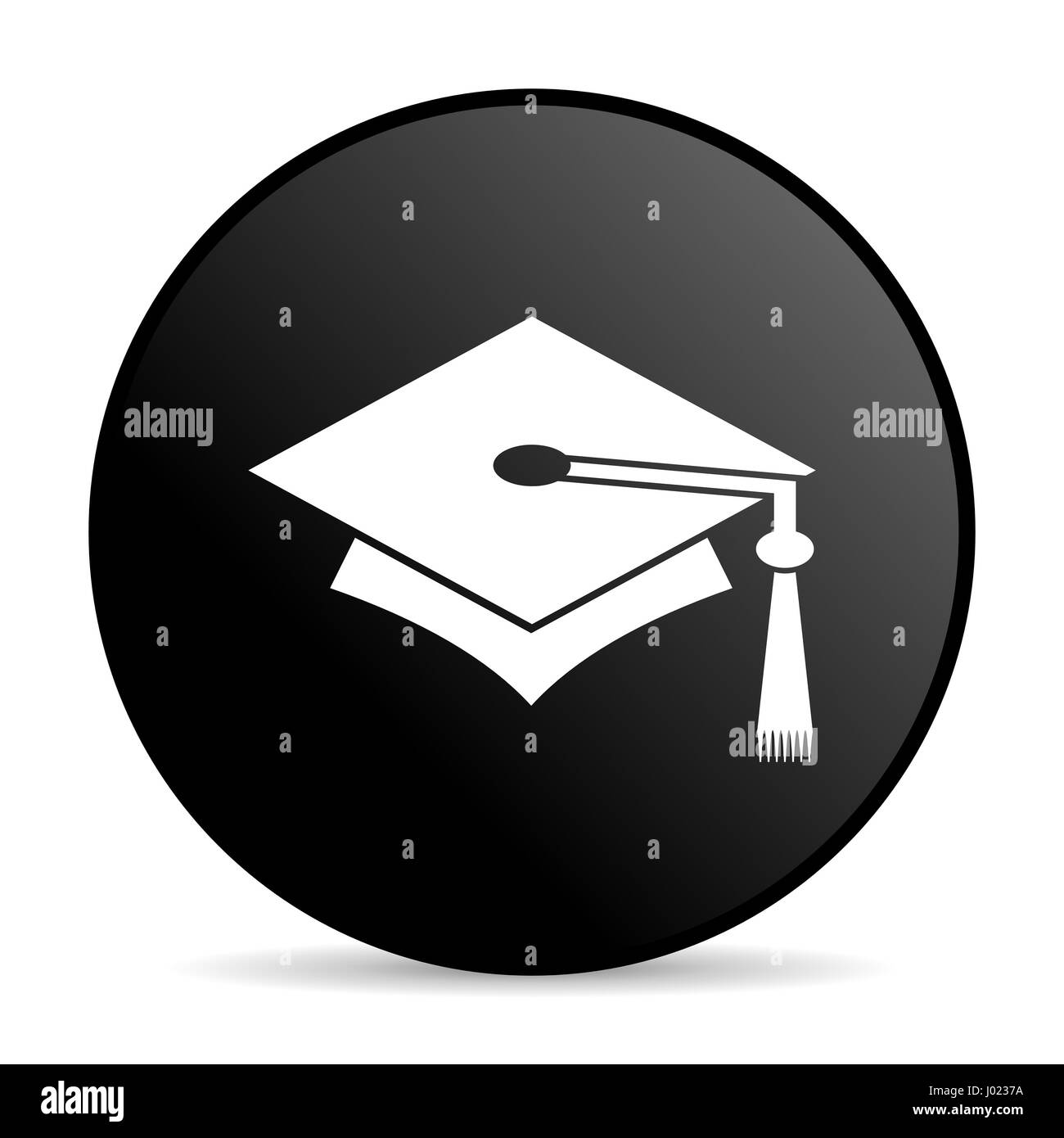 Education black color web design round internet icon on white background. - Stock Image