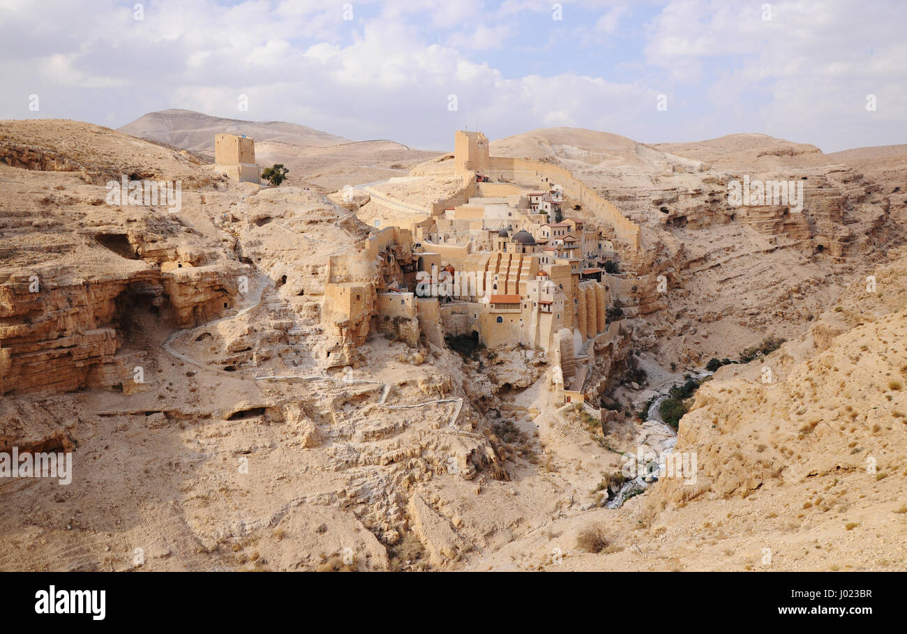 The Greek Orthodox Mar Saba Monastery in the Judean Desert east of Bethlehem (Israel) - Stock Image