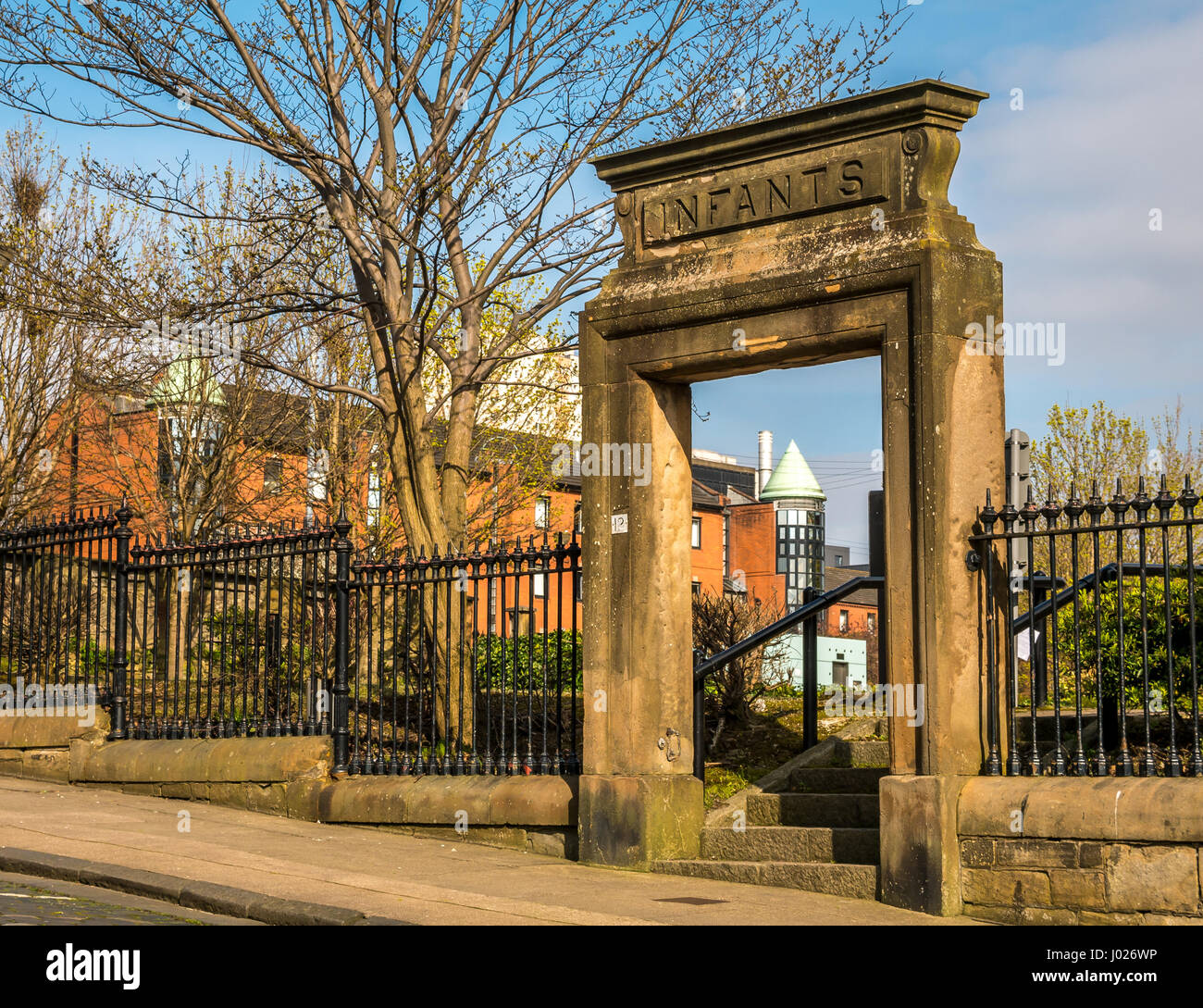 Only remains of Rottenrow Glasgow Maternity Hospital, infants entrance, where fathers saw new born babies for the Stock Photo