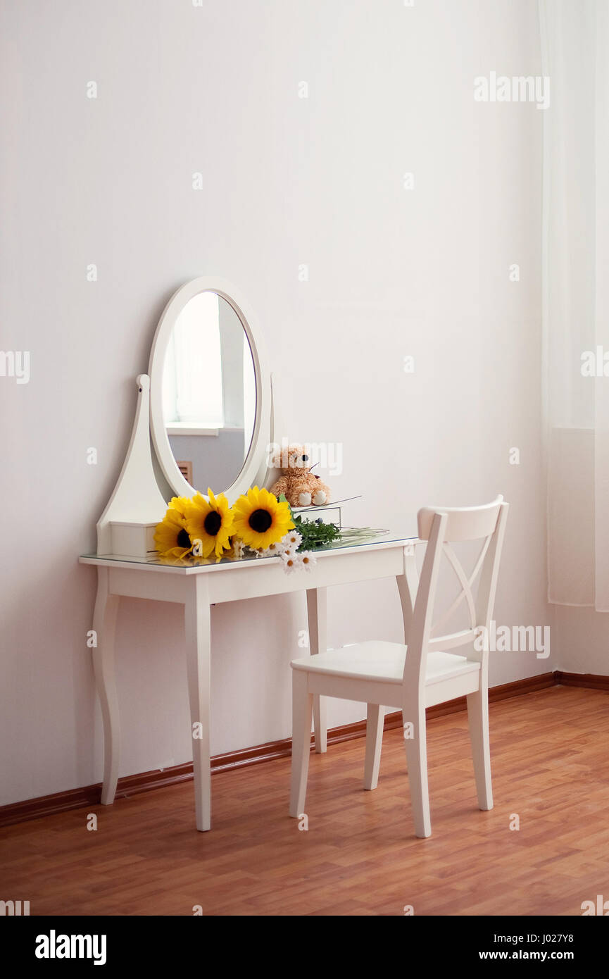A White Dressing Table, Glass Mirror   Stock Image