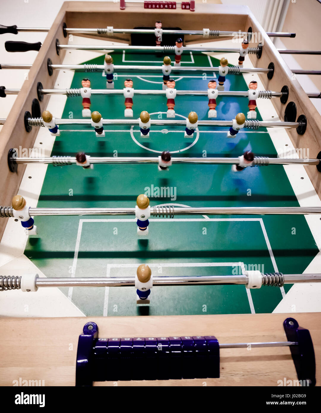 Table football game.  Close up of plastic table football game - Stock Image