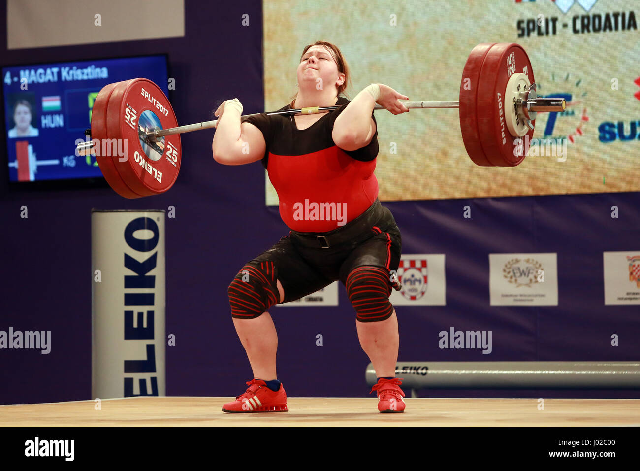 Split, Croatia. 8th Apr, 2017. Krisztina Magat of Hungary competes during competition of the Women's  90kg at - Stock Image