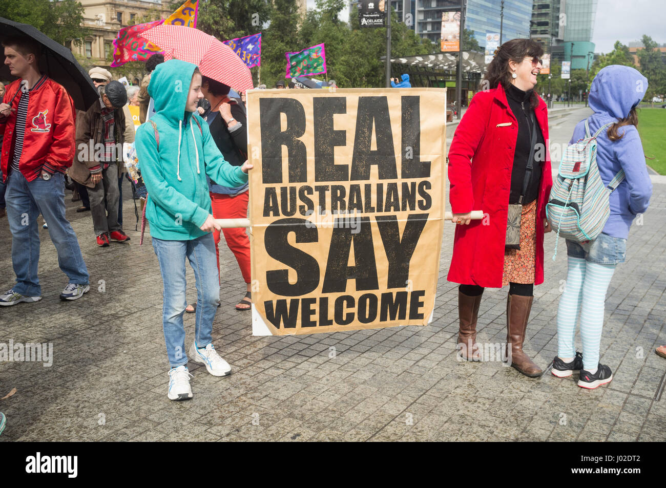 Adelaide Australia. 9th April 2017. Protesters marched to South Australia parliament to demanding  the closure by - Stock Image