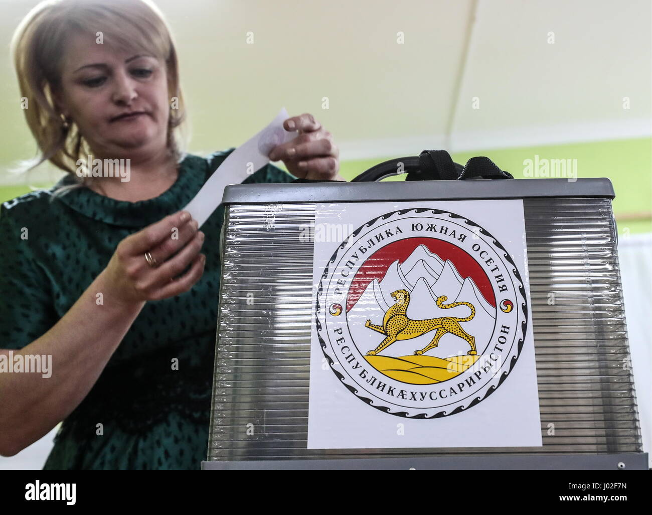 Tskhinval, South Ossetia. 9th Apr, 2017. An Election Commission member seals up a ballot box ahead of the 2017 South - Stock Image