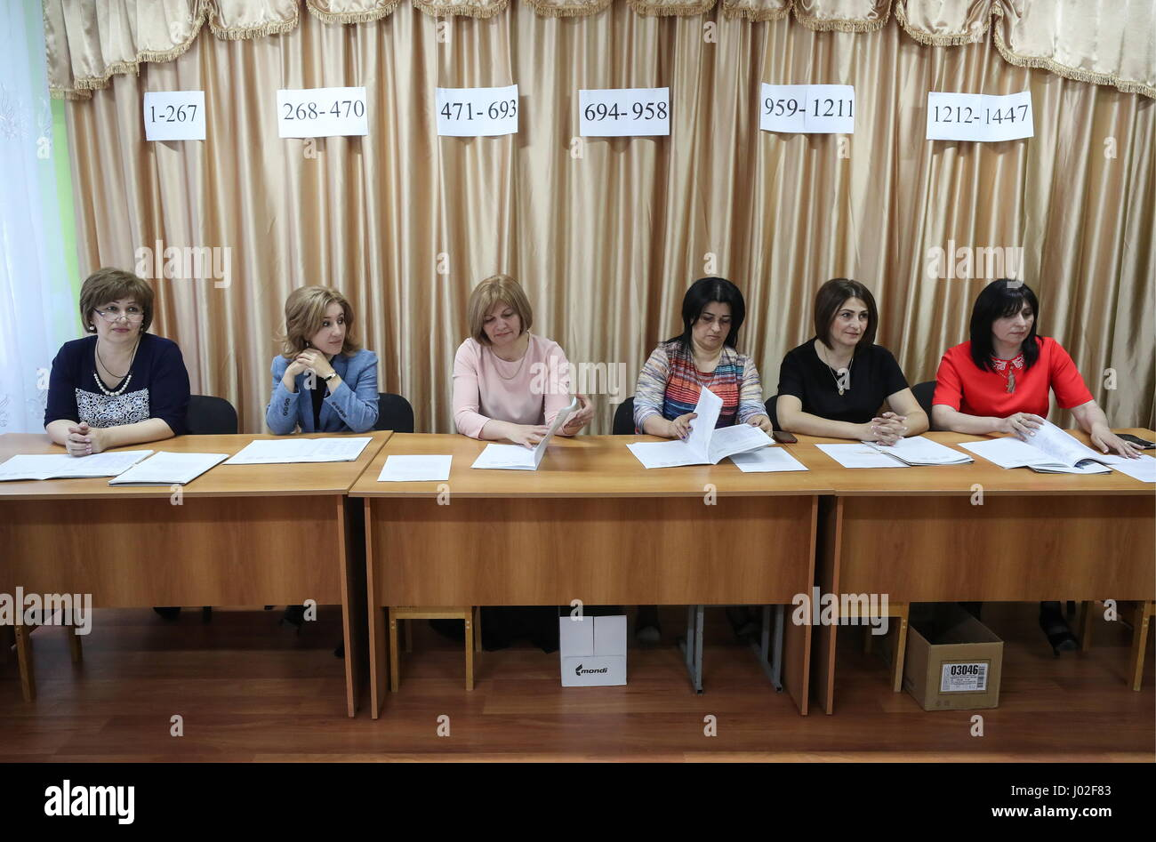Tskhinval, South Ossetia. 9th Apr, 2017. Election Commission members seen ahead of the 2017 South Ossetian presidential - Stock Image