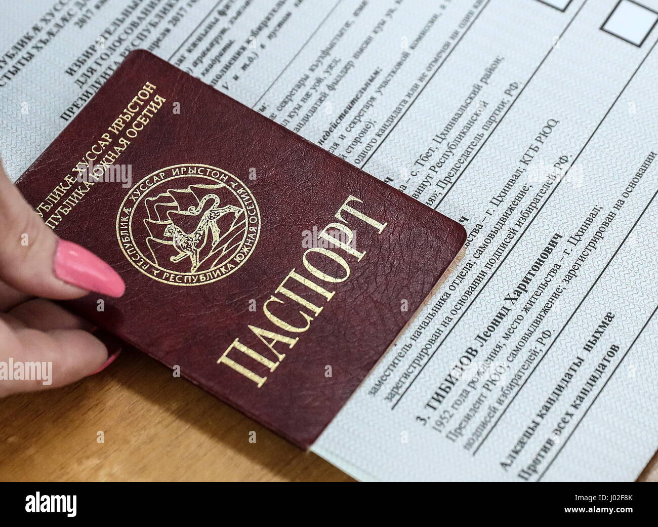 Tskhinval, South Ossetia. 9th Apr, 2017. A South Ossetian passport and a ballot seen during the 2017 South Ossetian - Stock Image