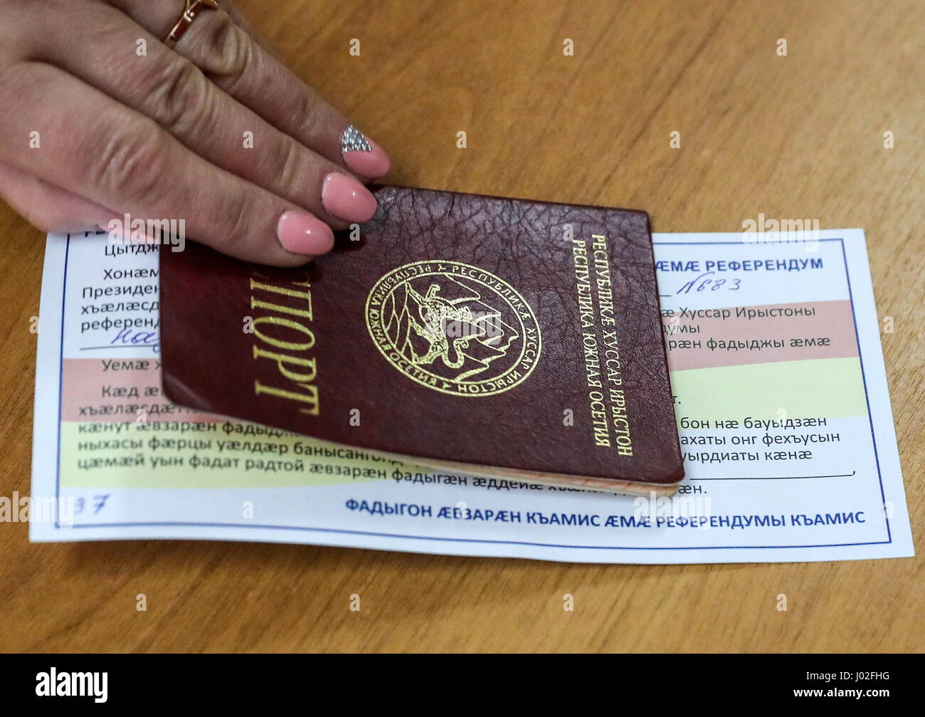 Tskhinval, South Ossetia. 9th Apr, 2017. A South Ossetian passport seen during the 2017 South Ossetian presidential - Stock Image