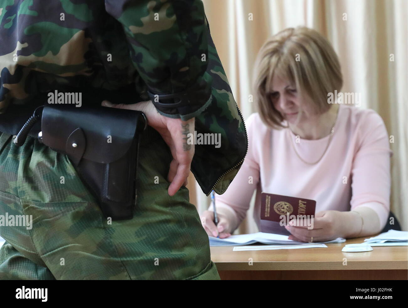 Tskhinval, South Ossetia. 9th Apr, 2017. An Election Commission member seen during the 2017 South Ossetian presidential - Stock Image
