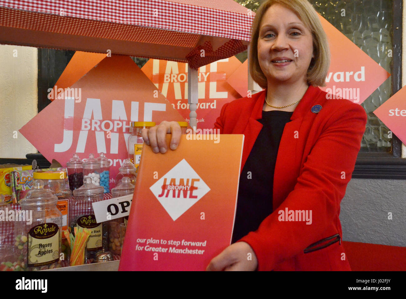 Manchester, UK. 8th April, 2017. Jane Brophy (Liberal Democrat candidate for Greater Manchester Mayor) launches - Stock Image