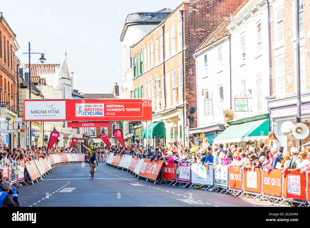 Louth, Lincolnshire, UK. 9th April, 2017. Tour of the Wolds in Louth Lincolnshire UK England 09/04/2017HSBC UK British - Stock Image