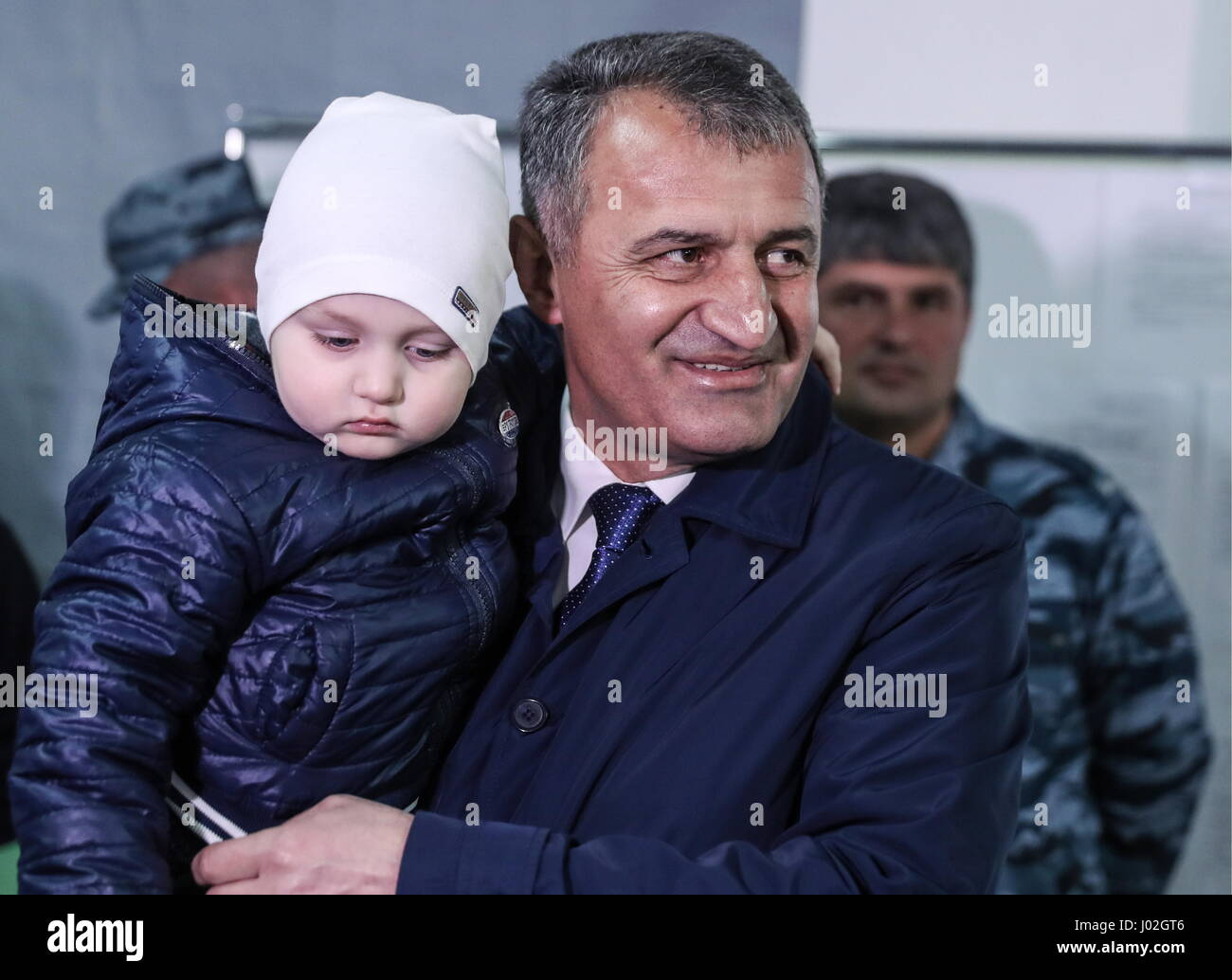 Tskhinval, South Ossetia. 9th Apr, 2017. South Ossetian Parliament Chairman, presidential candidate Anatoly Bibilov - Stock Image