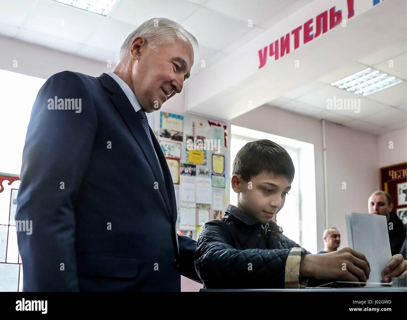 Tskhinval, South Ossetia. 9th Apr, 2017. South Ossetia's incumbent president Leonid Tibilov votes at the 2017 - Stock Image