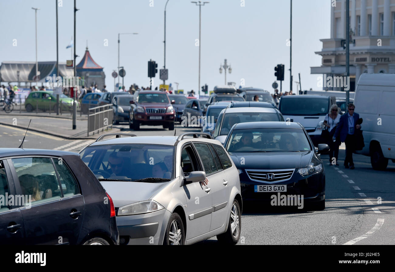 Brighton, UK. 9th Apr, 2017. Traffic congestion in Brighton the hottest day of the year so far with temperatures - Stock Image