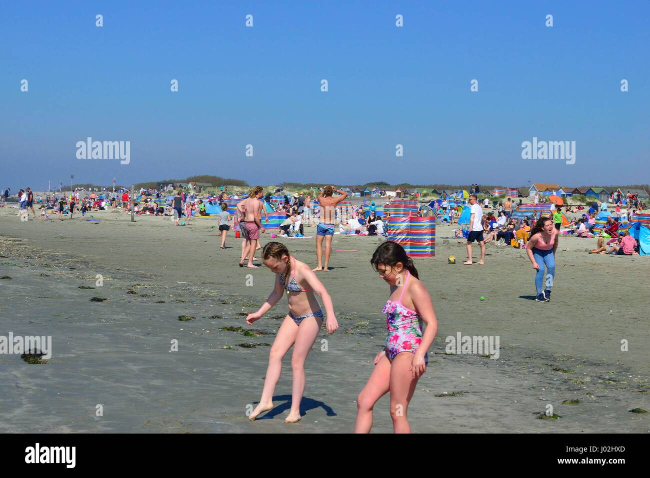 West Wittering Beach, West Sussex, UK. 9th April, 2017. Sizzling spring. Crowds descend onto West Wittering beach - Stock Image