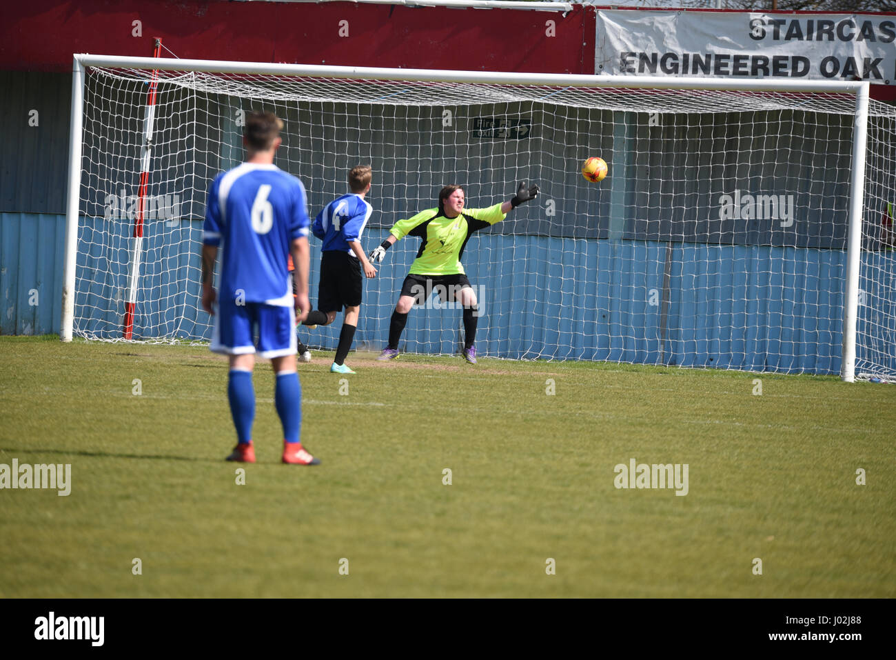 Paul Manners letting in a soft goal in a charity football match - Stock Image