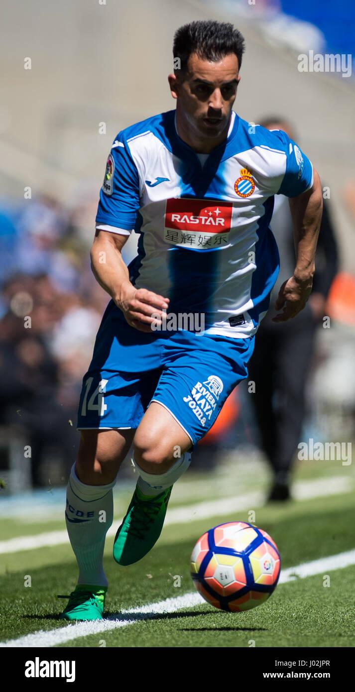 Barcelona, Spain. 8th April, 2017. Jurado drives the ball during La Liga Santander matchday 31 game between Espanyol - Stock Image