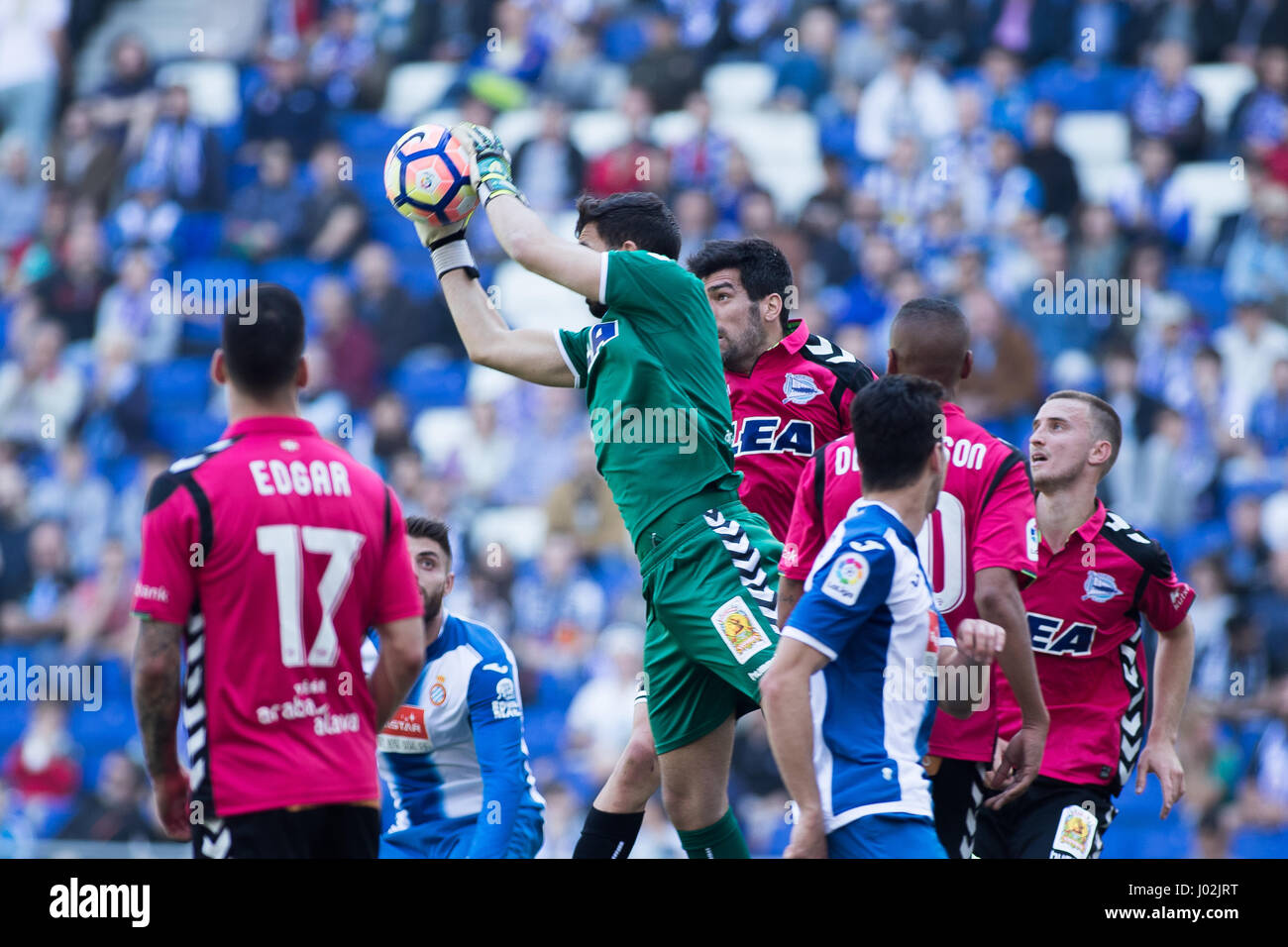 Barcelona, Spain. 8th April, 2017. Pacheco stop the ball during La Liga Santander matchday 31 game between Espanyol - Stock Image