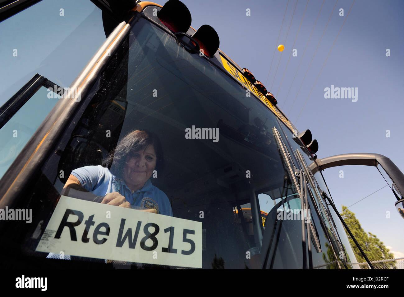 Las Vegas, Nevada, USA  24th Aug, 2012  School bus driver