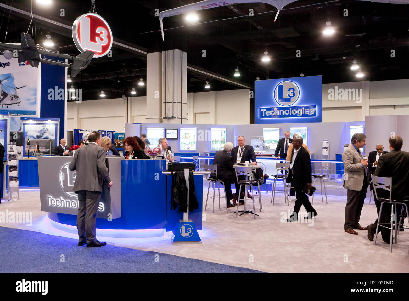 L3 exhibit booth at 2017 US Navy League Sea-Air-Space Exposition - Washington, DC USA - Stock Image