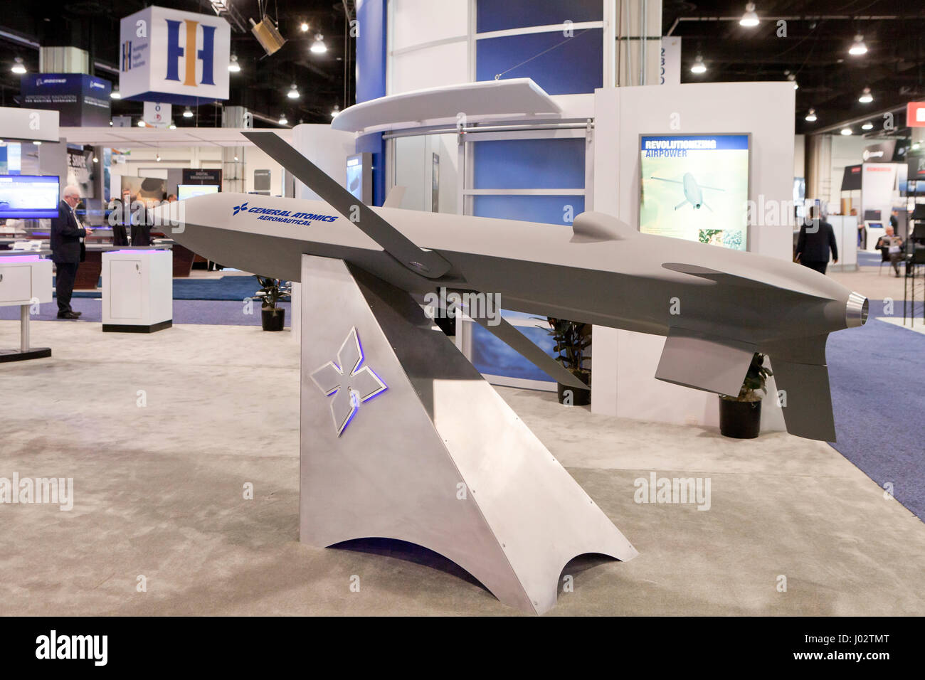 General Atomics display of UAS (Unmanned Aircraft System) concept vehicle at Sea Air Space expo  - Washington, DC - Stock Image
