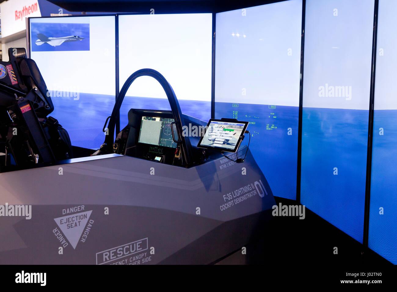 Lockheed Martin F-35 Cockpit Simulator - USA - Stock Image