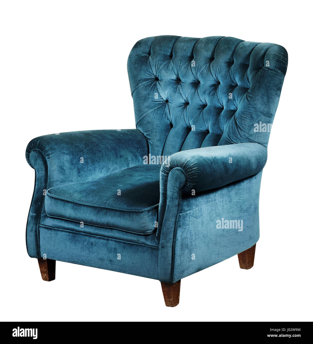 Blue Velvet Armchair With High Back And Short Wooden Legs, Isolated On  White Background