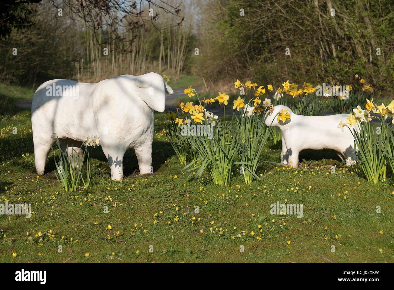 Community artwork of sheep in Worston Village, Ribble Valley, Lancashire, UK - Stock Image