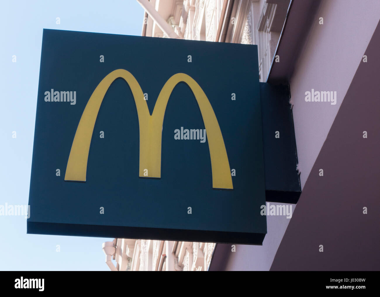 April 7, 2017 - Vilnius: logo and sign for the fast food restaurant 'Mc Donalds', Vilnius, Lithuania - Stock Image