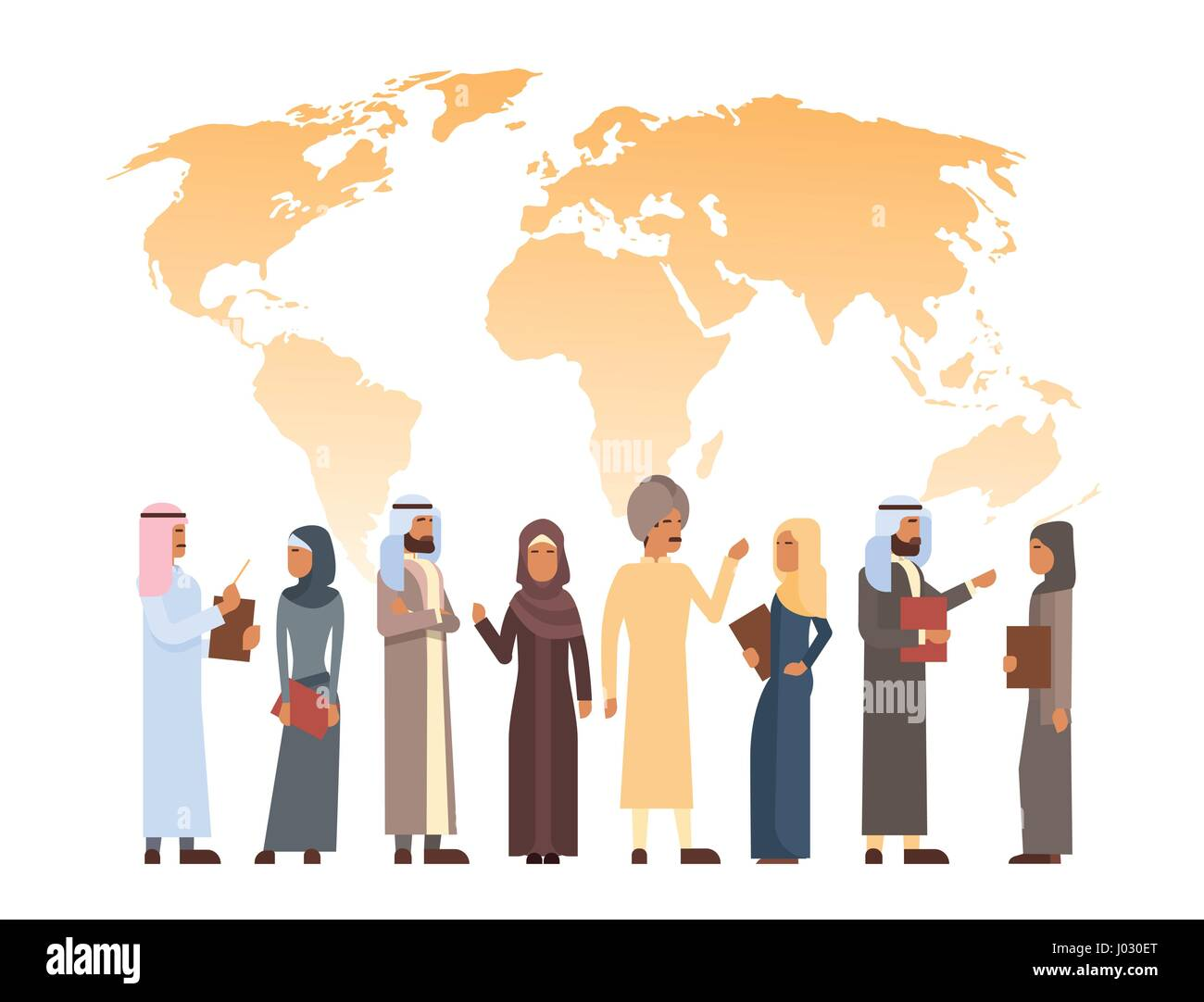 Arab Man And Woman Group Over World Map, Islam Businessman Businesswoman Wearing Traditional Clothes - Stock Image