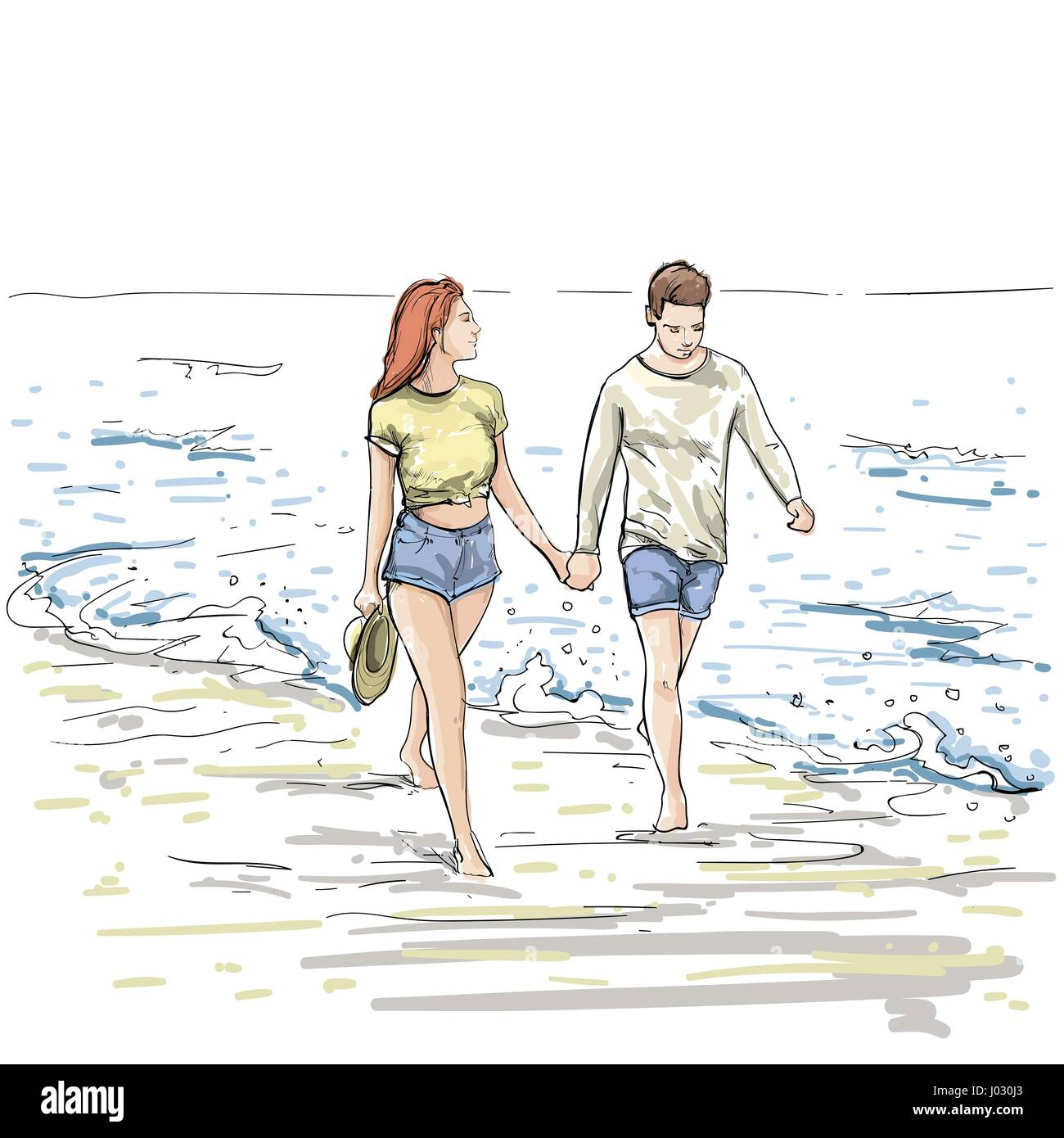 Couple hold hands walking beach man and woman holiday sketch on sea vacation