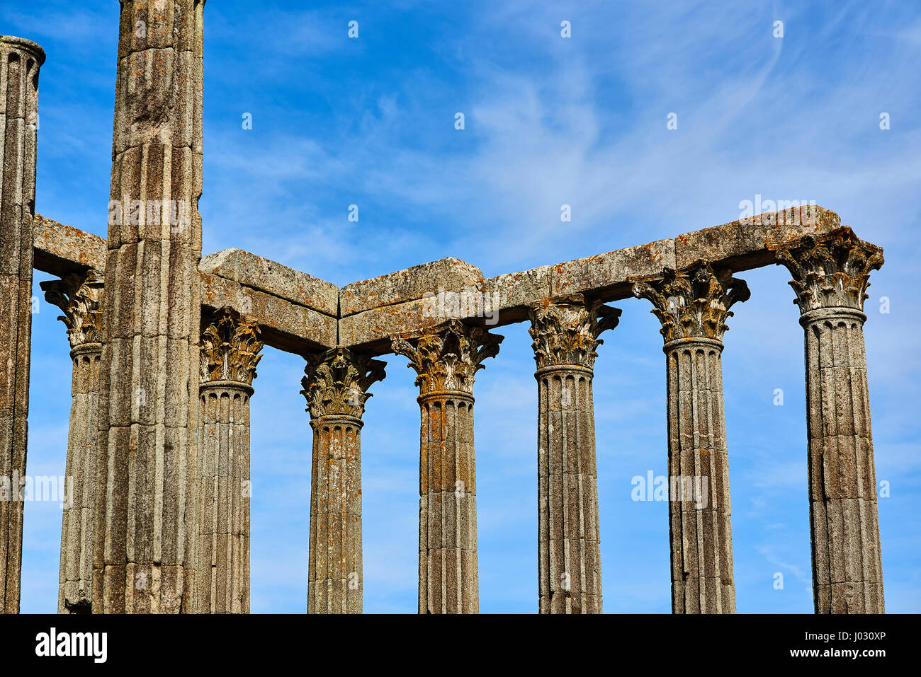 Archaeological remains of a roman temple of Diana in the downtown of Evora, Alentejo. Portugal. - Stock Image