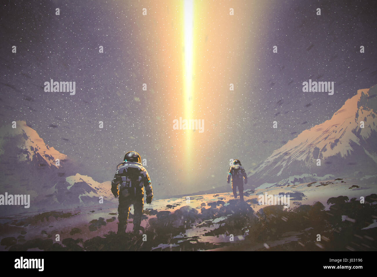 astronauts walking to mystery light beam from the sky, sci-fi concept, illustration painting - Stock Image