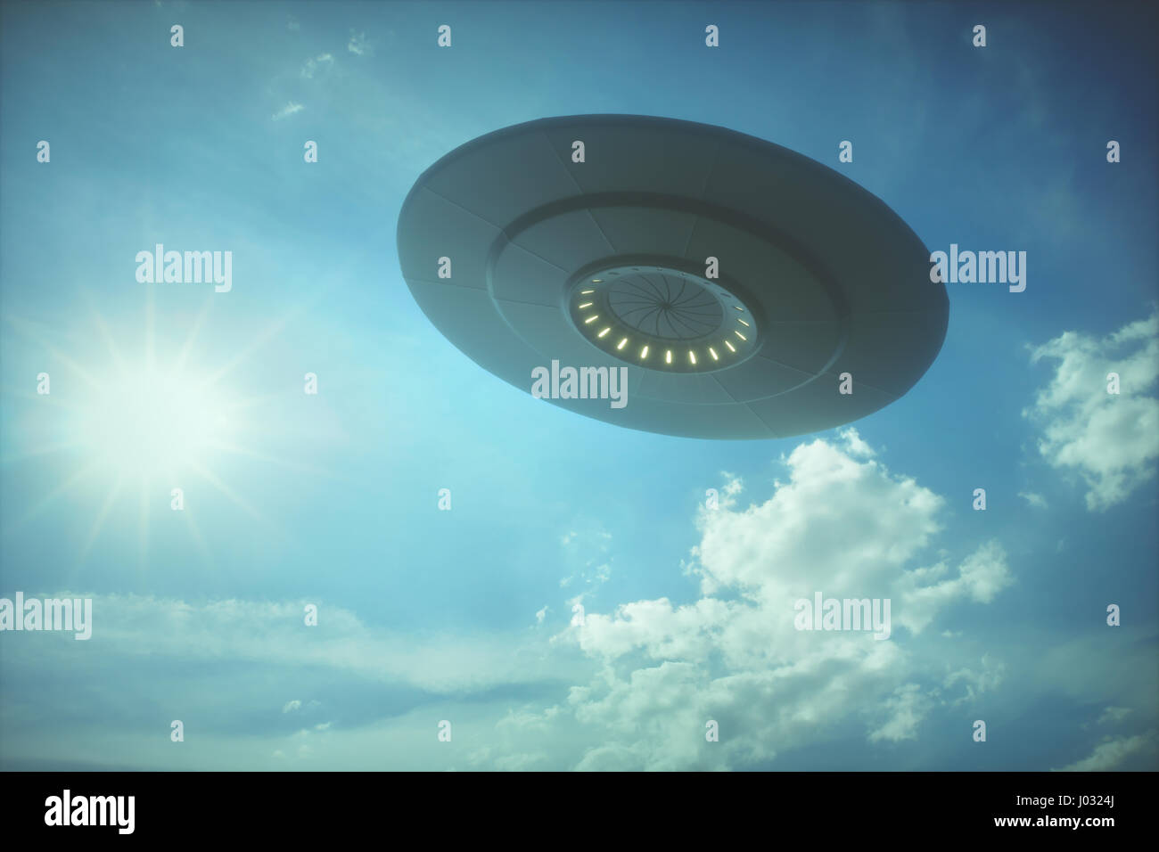 3D illustration with photography. Alien spaceship under the sun. - Stock Image