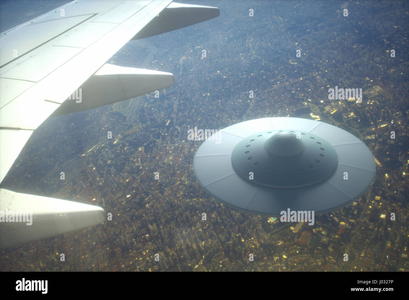 3D illustration with photography. Alien spaceship flying together with airplane. - Stock Image