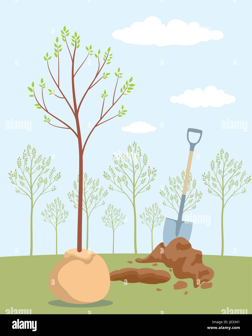 Seeding fruit tree. Planting sapling tree. Save trees day of forests. Orchard planting. Vector illustration - Stock Vector
