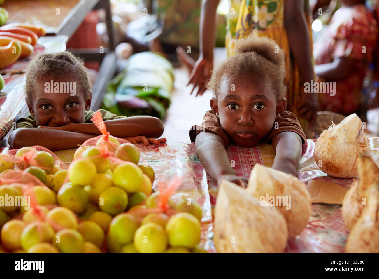 Children at the Main market in Port Vila, Efate Island, Vanuatu - Stock Image