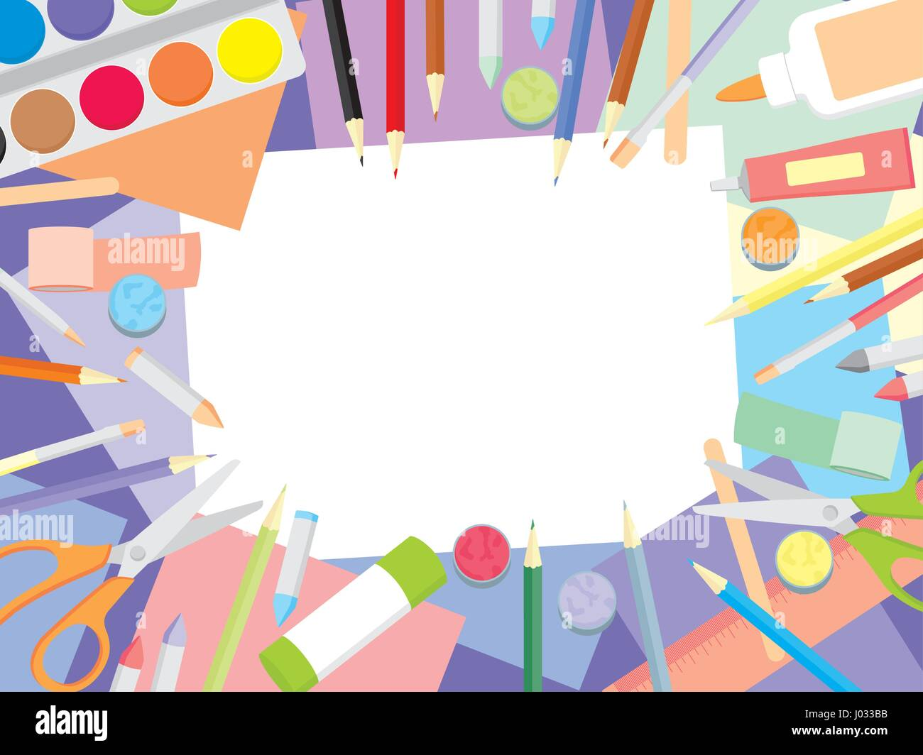 art workshop kids craft supplies top view background education and J033BB