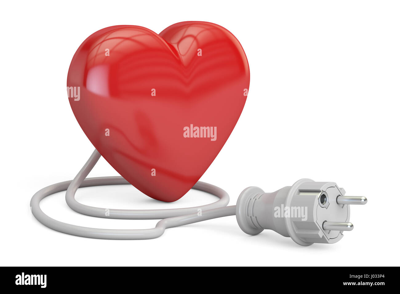 Red heart with electrical plug, 3D rendering isolated on white background Stock Photo