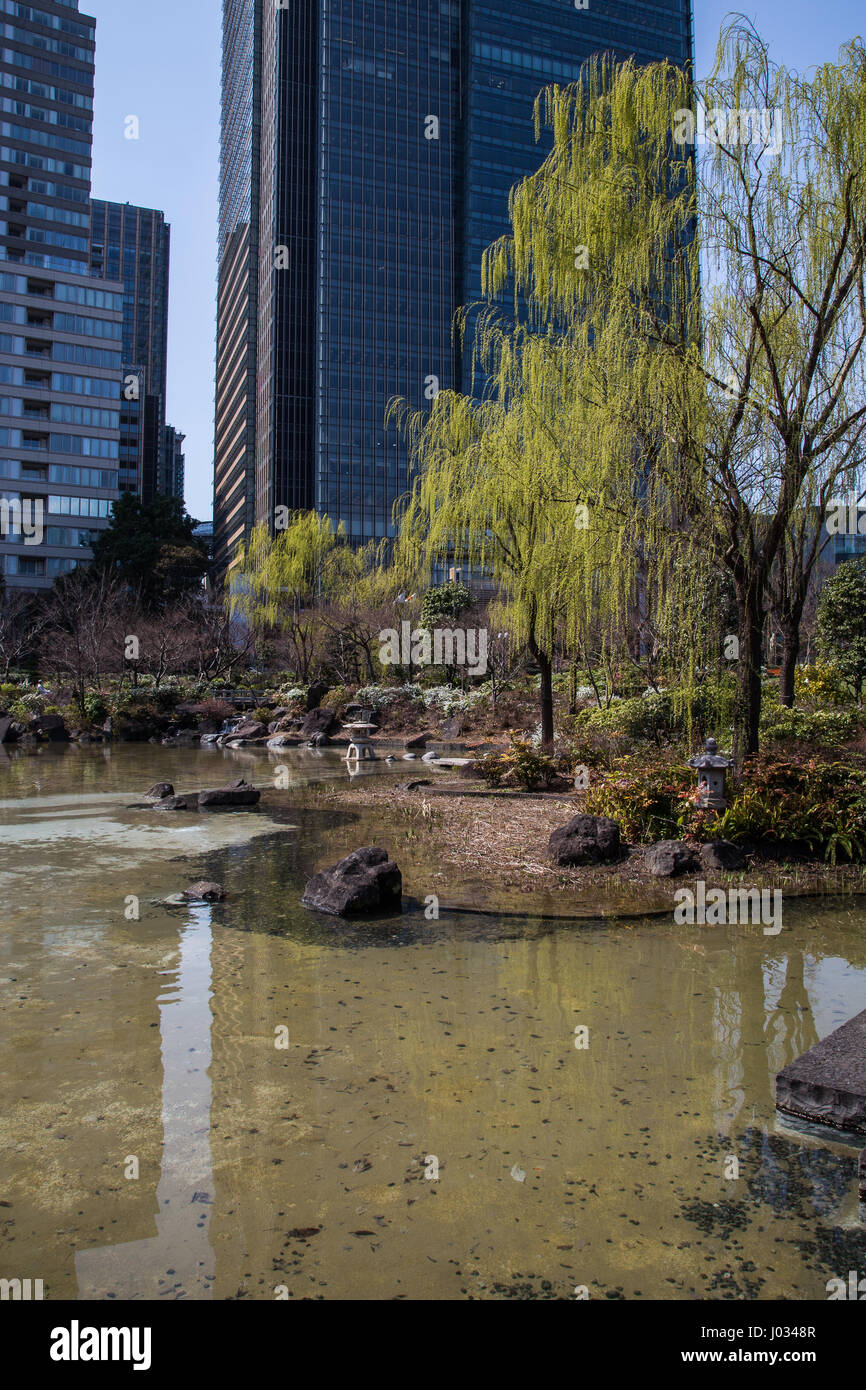 Hinokicho Park,  is maintained by the Minato-ku Tokyo just east of Tokyo Midtown Garden. Hinokicho was once the Stock Photo
