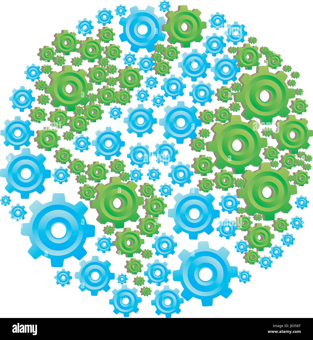 colorful circular shape with pattern of pinions Stock Vector