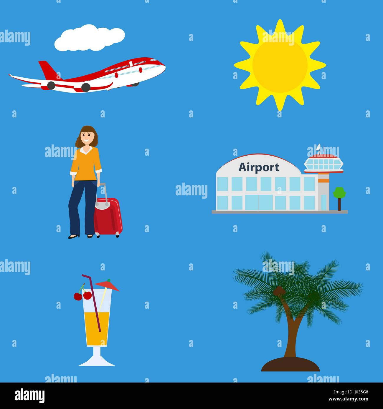 Collection of vacation symbols, airport, flying plane - Stock Image