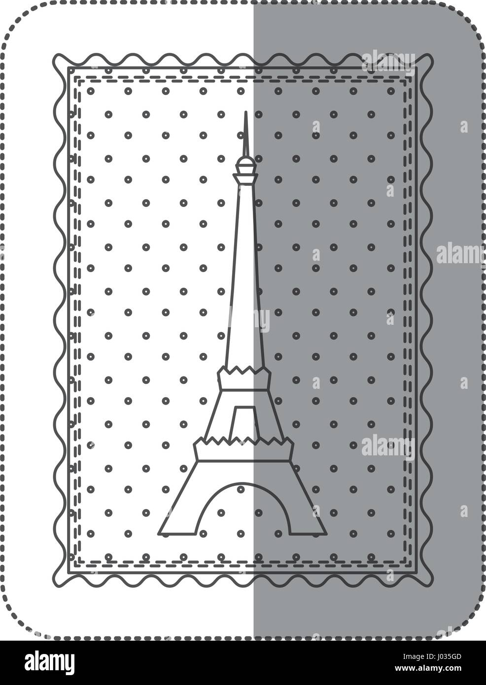 sticker contour frame of eiffel tower with background dotted - Stock Vector