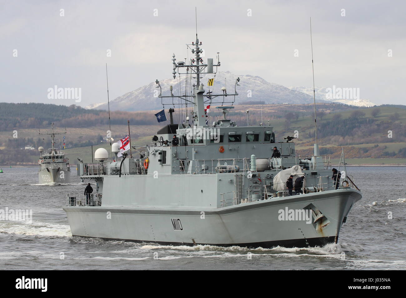 HMS Ramsey (M110) and HNLMS Schiedam (M860), passing Greenock on their arrival for Exercise Joint Warrior 17-1. Stock Photo