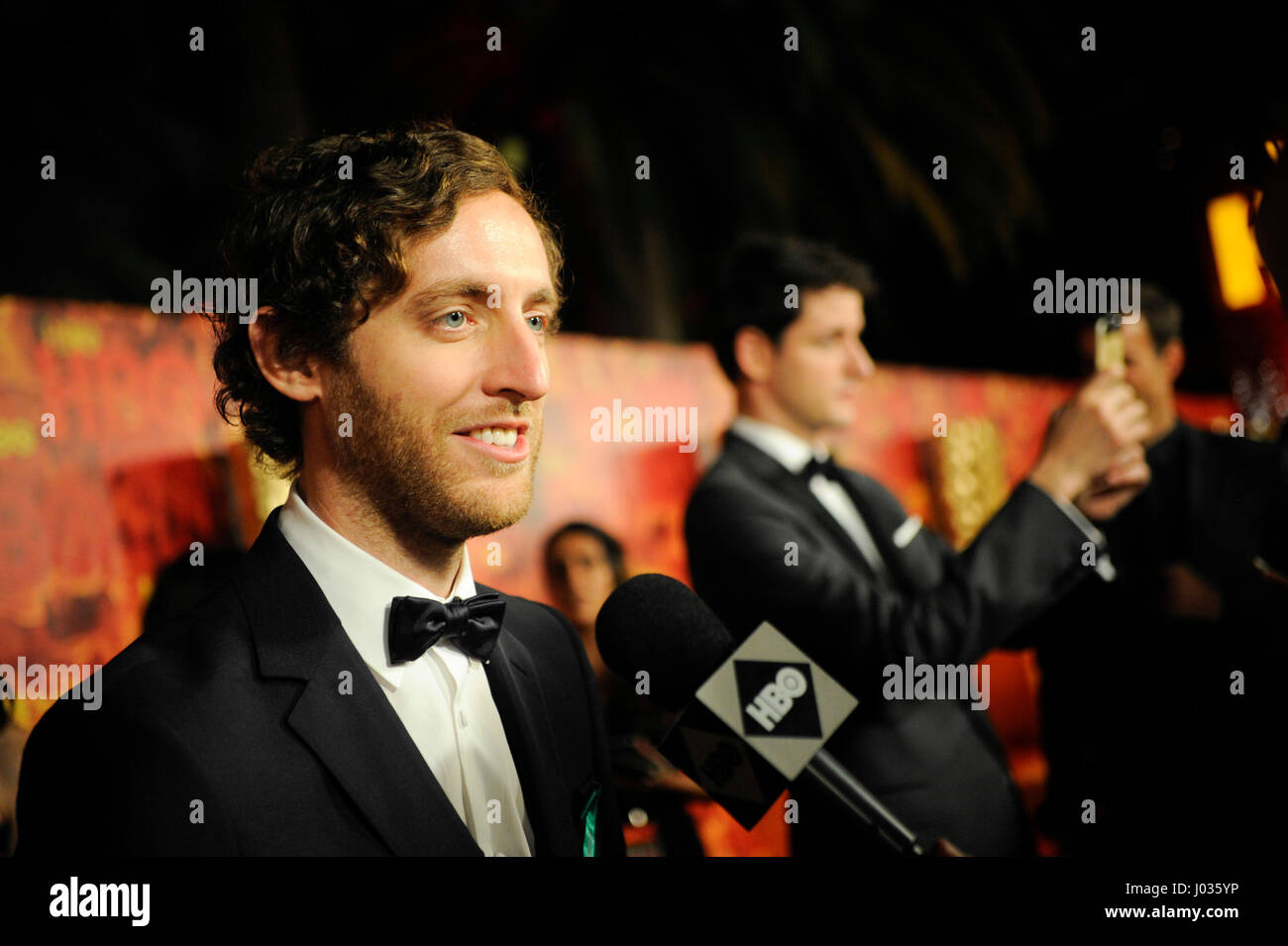 Thomas Middleditch being interviewed at HBO's 2015 Emmy After Party at the Pacific Design Center on September 20th, Stock Photo